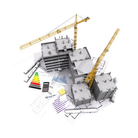 construction project: 3D rendering of Buildings under construction on top of blueprints, mortgage forms, energy efficiency charts