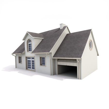 garage on house: 3D rendering of a house on a white background