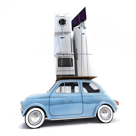 appliance: 3D rendering of a small retro car carrying household electrical appliances Stock Photo