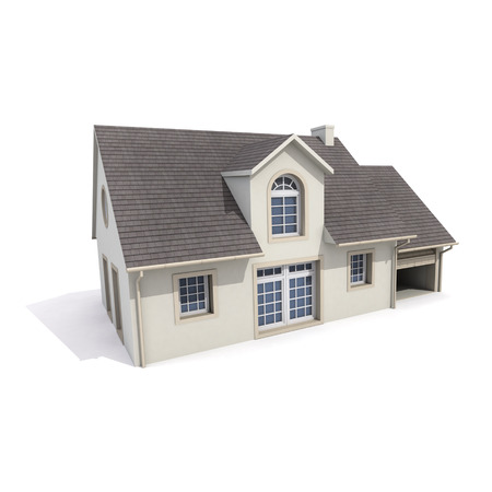 3D vykreslování domu na bílém pozadí