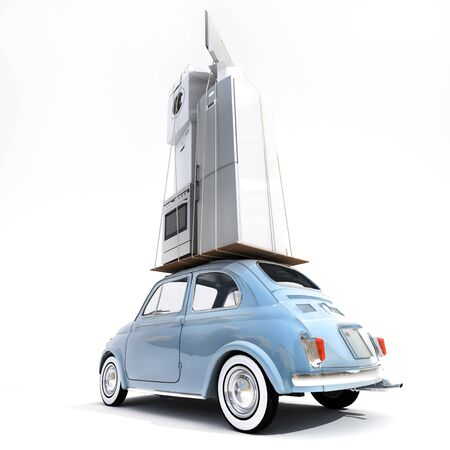 electrical appliances: 3D rendering of a small retro car carrying household electrical appliances Stock Photo