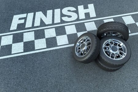3D rendering of wheels by a motor race circuit finish line