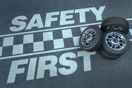 se�ales de seguridad: Representaci�n 3D de ruedas en la parte superior de un circuito de carreras con la seguridad palabras primero