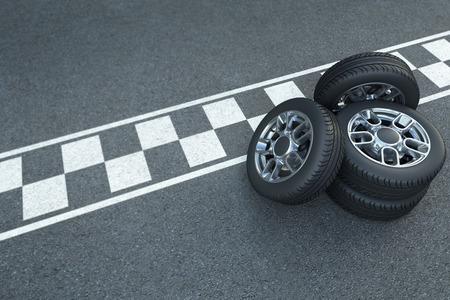 3D rendering Pile of wheels on the asphalt with car race signage Foto de archivo