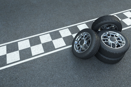 3D rendering Pile of wheels on the asphalt with car race signage Stockfoto