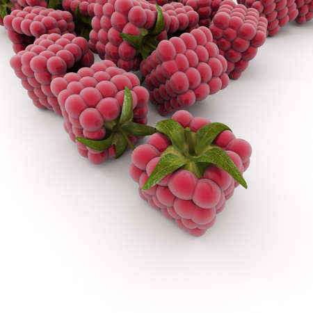 cubic: 3D rendering of cubic raspberries over a white background Stock Photo