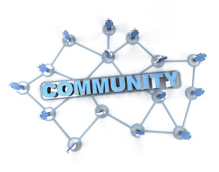 interconnected: 3D rendering of a group of interconnected people around the word community Stock Photo