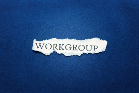 workgroup: A scrap of paper with the word workgroup Stock Photo
