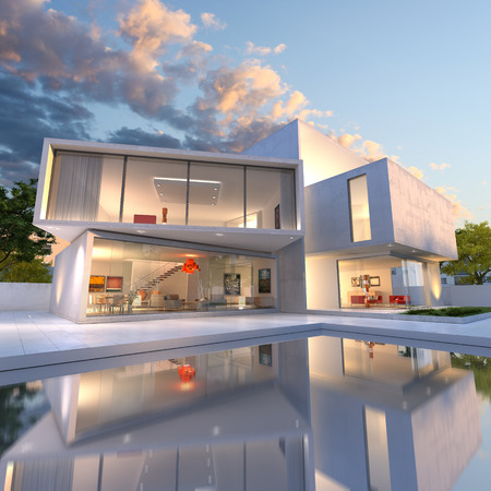 exteriors: 3D rendering of Impressive villa with pool, late afternoon