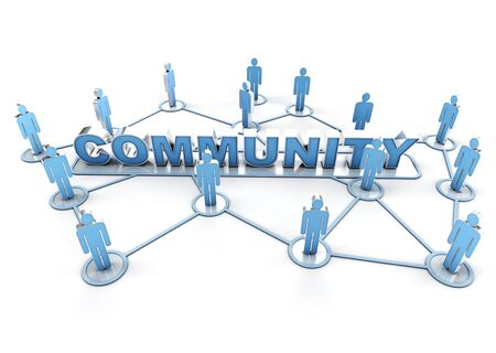interpersonal: 3D rendering of a group of interconnected people around the word community Stock Photo