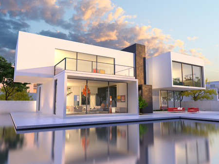 houses on water: 3D rendering of Impressive villa with pool, late afternoon