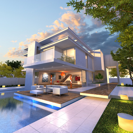 3D rendering of Impressive villa with pool, late afternoon photo