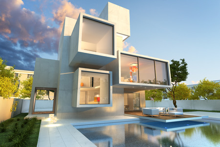 designer chair: 3D rendering of Impressive villa with pool, late afternoon