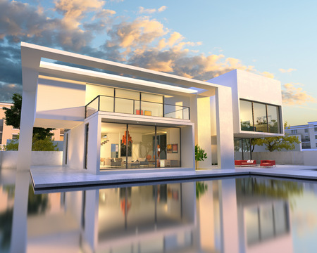 3D rendering of beautiful modern villa with pool, late afternoon photo