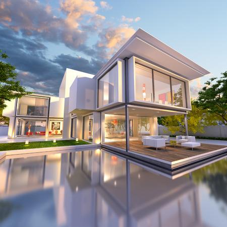 수영장과 아름다운 현대 빌라의 3D 렌더링, 늦은 오후 스톡 콘텐츠
