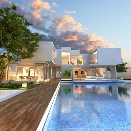 patio chairs: 3D rendering of Impressive villa with pool at the end of the day