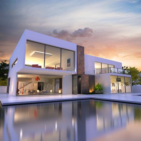 case moderne: Rendering 3D di Stupenda villa con piscina, alla fine della giornata Archivio Fotografico