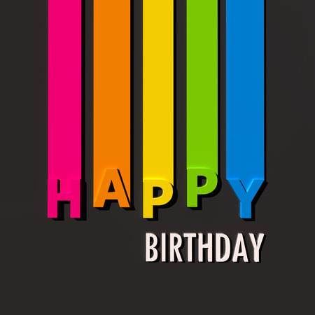 birthday backdrop: Multicolored sign on black background with the words Happy Birthday