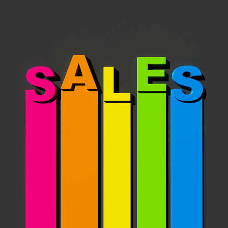 Multicolored sign on black background with the word sales photo