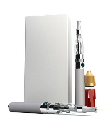 3D rendering of a pair of e-cigarettes with a box and a refill bottle photo