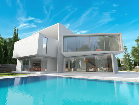 modern lifestyle: External view of a contemporary house with pool