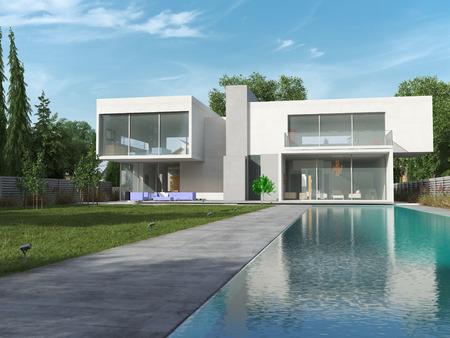 Externe weergave van een moderne woning met zwembad Stockfoto