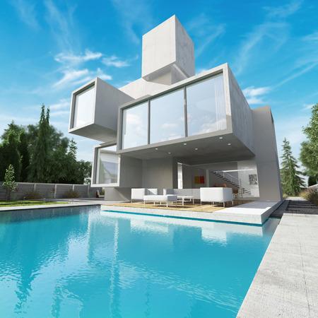 수영장과 현대적인 집의 외부보기 스톡 콘텐츠