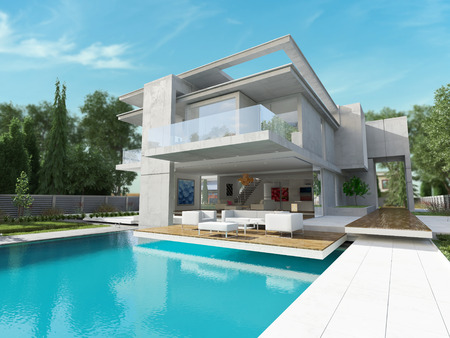 Vista exterior de una casa contemporánea con piscina Foto de archivo - 38665651