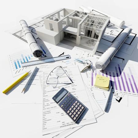 청사진과 다른 문서의 상단에 현대적인 건물의 3D 렌더링