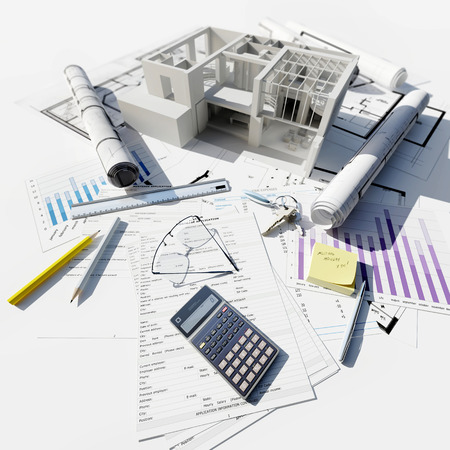 3D rendering of Modern building on top of blueprints and different documents