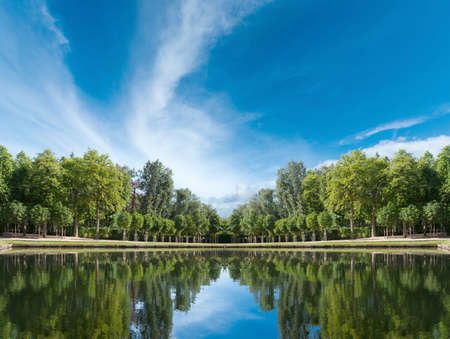 symetric: Symetric image with pond in palace gardens Stock Photo