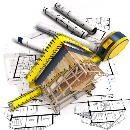 reform: 3D rendering of a house under construction with full technical details on top of blue prints, and a measuring tape Stock Photo
