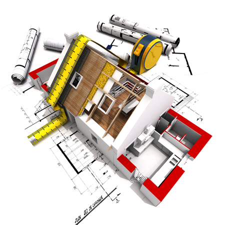 3D rendering of a house under construction with full technical details on top of blue prints, and a measuring tape 스톡 콘텐츠