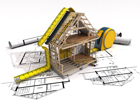 3D rendering of a house under construction with full technical details on top of blue prints, and a measuring tape Foto de archivo
