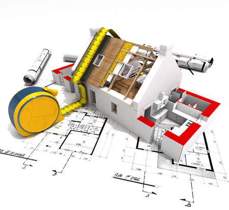 building material: 3D rendering of a house under construction with full technical details on top of blue prints, and a measuring tape Stock Photo