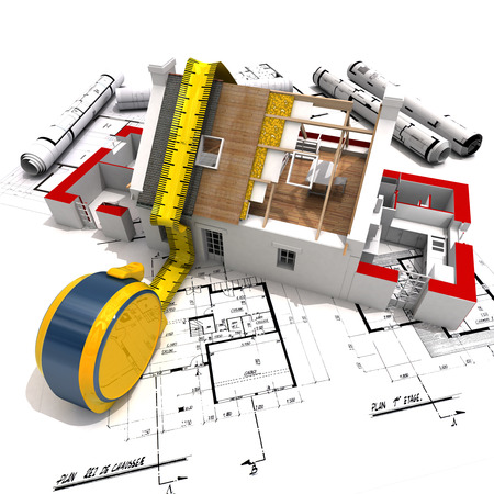 3D rendering of a house under construction with full technical details on top of blue prints, and a measuring tape Stockfoto