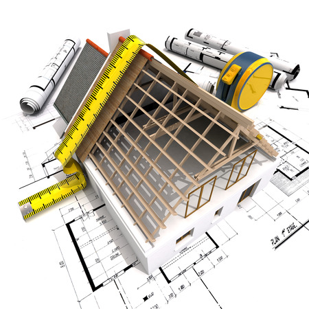 3D rendering of a house under construction with full technical details on top of blue prints, and a measuring tape Stock Photo - 39059538