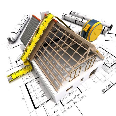 3D-weergave van een huis in aanbouw met volledige technische details op de top van blauwdrukken, en een meetlint Stockfoto