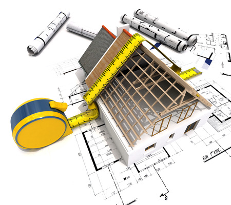 3D rendering of a house under construction with full technical details on top of blue prints, and a measuring tape 版權商用圖片