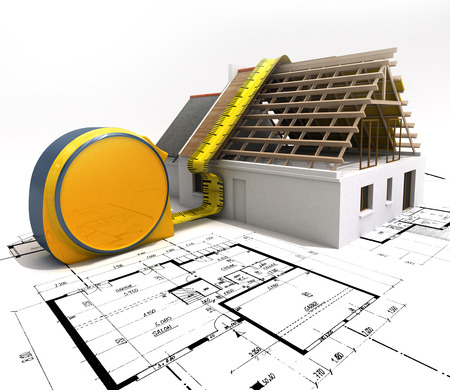 3D rendering of a house under construction with full technical details on top of blue prints, and a measuring tape Stock Photo