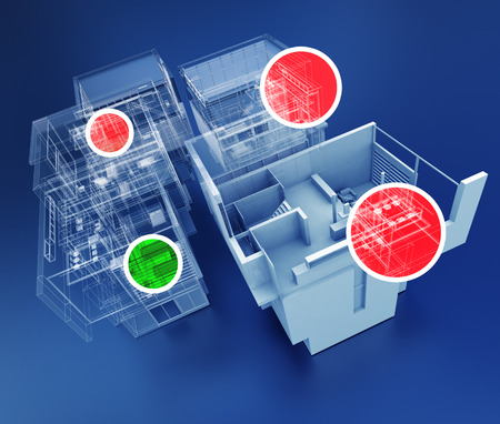 3D rendering of building monitoring concepts photo