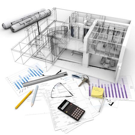 Architektur-Modell auf einem Tisch mit Hypothekenantragsformular, Rechner, Blaupausen, etc ..