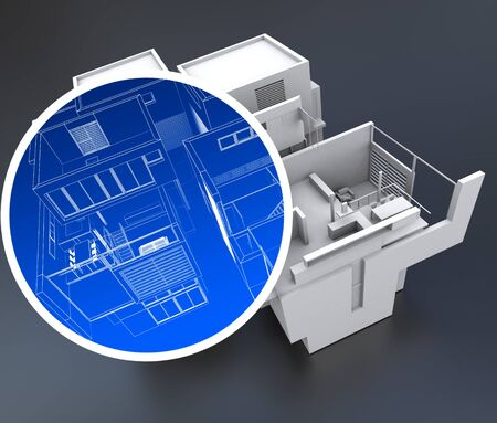 building security: 3D rendering of a building with a circle focusing on an element Stock Photo