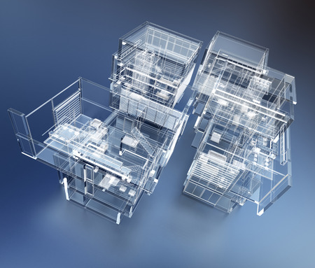 home plans: 3D rendering of a transparent building against a blue background Stock Photo