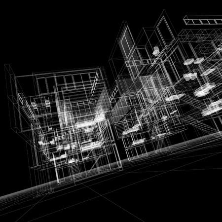파란색 배경에 투명 건물의 3D 렌더링 스톡 콘텐츠
