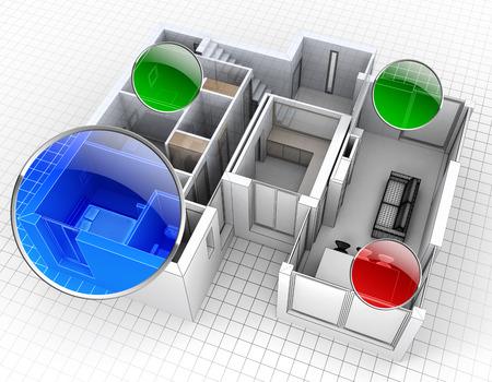 3D-Rendering von einer Wohnung Luftaufnahme mit Überwachung Spots Standard-Bild - 39561056