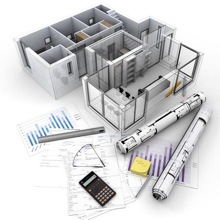 住宅ローン申し込み書、電卓、青写真などのテーブルの上に建築モデルの 3 D レンダリング.