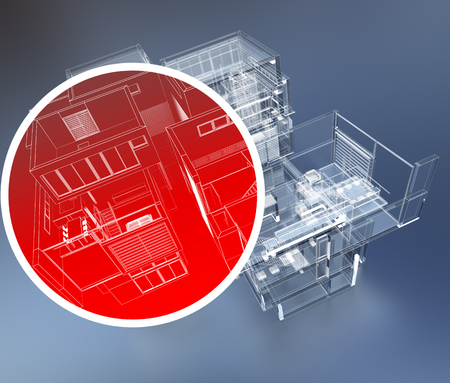 building security: 3D rendering of building monitoring concepts