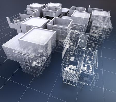 専門の建物のグループの 3 D レンダリング
