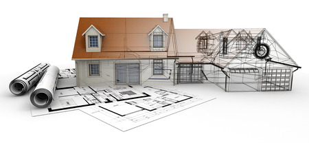 decor residential: 3D rendering of a house project on top of blueprints, showing different design stages